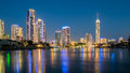 Gold Coast City Skyline at night Royalty Free Stock Photo