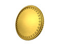 Gold coin with border on a white background Stock Photos
