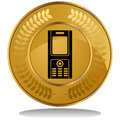 Gold Coin - Cell Phone Royalty Free Stock Photo