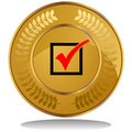 Gold Coin - Check Mark Stock Photography