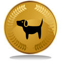 Gold Coin - Dog Royalty Free Stock Photo