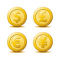 Gold coin icons a set of in four different currencies Stock Photo