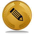 Gold Coin - Pencil Royalty Free Stock Photo