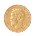 Gold coin of the russian empire on white background Stock Image