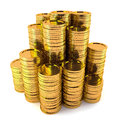 Gold coin stack d render of isolated Royalty Free Stock Images