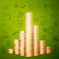Gold coin stack with doodles line Royalty Free Stock Photo