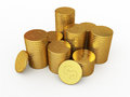 Gold coins d render on white and clipping path Stock Photos