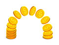 Gold coins with dollar signs Royalty Free Stock Photo
