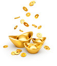 Gold Coins Dropping on Gold Sycee - Yuanbao