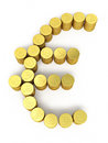 Gold coins euro sign d render on white and clipping path Royalty Free Stock Image