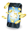 Gold coins flying out of smart mobile phone Stock Photography
