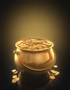Gold coins golden pot full of clipping path included Royalty Free Stock Photo