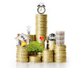 Gold coins and graph them the Royalty Free Stock Images