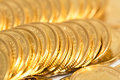 Gold coins heap of Stock Photography