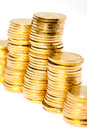 Gold coins heap of Stock Image