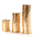 Gold coins many loose change Stock Photo