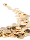 Gold coins many loose change Royalty Free Stock Photography