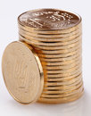 Gold coins many loose change Royalty Free Stock Photos