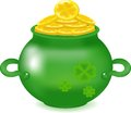 Gold coins in a pot, wealth in the form of coins, a symbol of a St. Patrick's Day, money in deep ware, Royalty Free Stock Photo