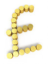 Gold coins pound signs d render on white and clipping path Royalty Free Stock Photos