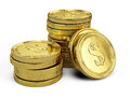 Gold coins on white background Stock Photos