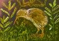 Zlato farebný kivi vták úkryt v