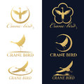 Gold crane bird logo vector set design Royalty Free Stock Photo