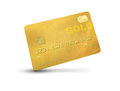 Gold credit card or debit representing rich or luxury with world map on the background isolated on a white background and Stock Images