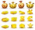 Gold credit money coins set for game interface illustration of a of glossy and bright cartoon and credits icons ingot and symbols Stock Images