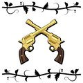Gold Crossed Guns Stock Image