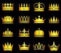 Gold crown, aristocracy symbols vector set
