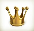 Gold crown icon illustration on white background Royalty Free Stock Image