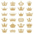 Gold crown silhouette. Royal crowns, coronation king and luxury queen tiara silhouettes icons vector set Royalty Free Stock Photo