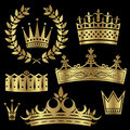 Gold Crowns Set Royalty Free Stock Image