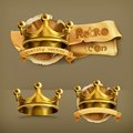 Gold crowns vector icons Royalty Free Stock Photo
