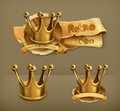 Gold crowns, vector icons Royalty Free Stock Photo