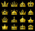 Gold crowns vector set Royalty Free Stock Photo