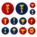 Gold Cup flat icons in set collection for design. Winners Cup vector symbol stock web illustration.