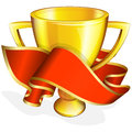 Gold cup with red ribbon vector illustration of Stock Images