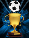 Gold cup with a soccer ball on an abstract background Stock Images