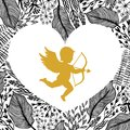 Gold Cupid with arrow and bow, floral frame in heart shape.. Amour Silhouette for Happy Valentines day decorations or