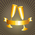 Gold cups and ribbon banner Royalty Free Stock Image