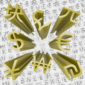 Gold Currency Symbols Fly Out of Money Background Stock Images