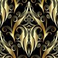 Gold 3d damask seamless pattern. Vector ornamental vintage backg Royalty Free Stock Photo