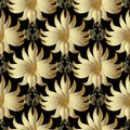 Gold 3d floral vector seamless pattern. Golden surface hand draw