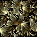 Gold 3d floral vector seamless pattern. Line art tracery hand drawn striped paisley flowers. Ornamental abstract flourish