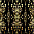 Gold damask floral seamless pattern with arabesque, oriental ornament, luxury design.