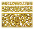 Gold decoration iron floral metal lattice on white background Stock Photography