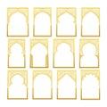 Gold Design Arab window Ramadan Kareem.