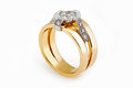 Big gold diamond ring Royalty Free Stock Photo